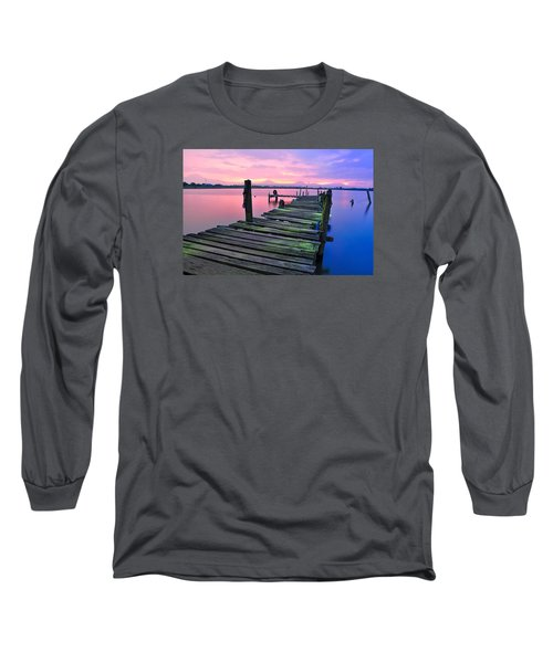 Standing On A Wooden Bridge Long Sleeve T-Shirt