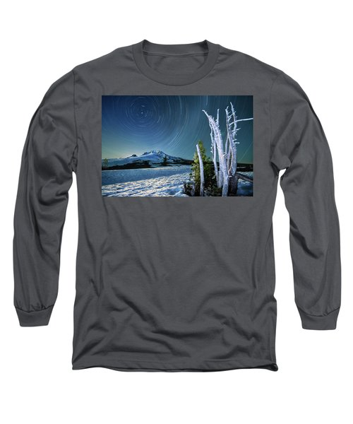 Long Sleeve T-Shirt featuring the photograph Star Trails Over Mt. Hood by William Lee