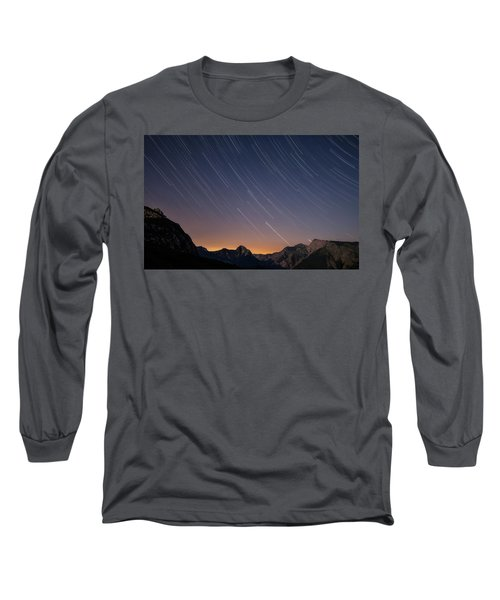 Star Trails Over The Apuan Alps Long Sleeve T-Shirt