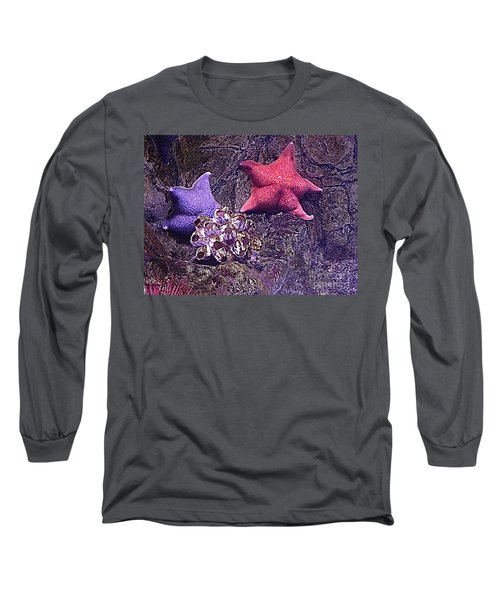 Long Sleeve T-Shirt featuring the photograph Starfish Pink Starfish Blue by Richard W Linford
