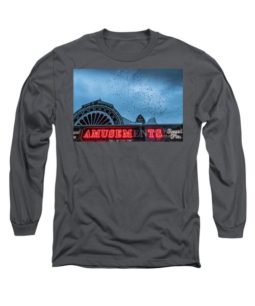 Starlings Over Aberystwyth Royal Pier Long Sleeve T-Shirt