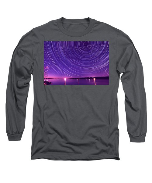 Starry Night Of Cayuga Lake Long Sleeve T-Shirt by Paul Ge