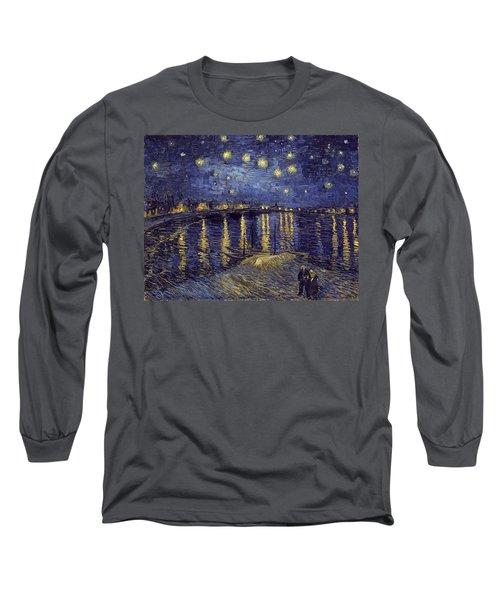 Long Sleeve T-Shirt featuring the painting Starry Night Over The Rhone by Van Gogh