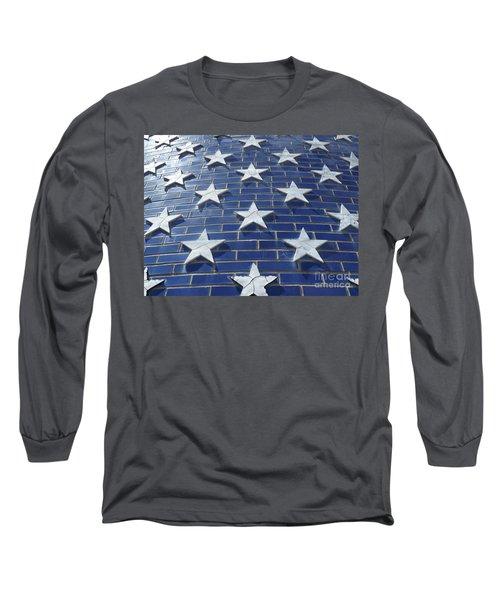 Stars On Blue Brick Long Sleeve T-Shirt