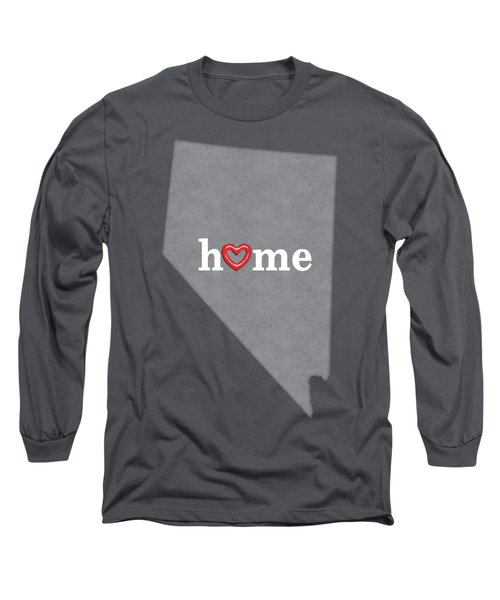State Map Outline Nevada With Heart In Home Long Sleeve T-Shirt