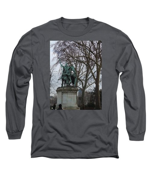 Statue At Notre Dame Long Sleeve T-Shirt by Roxy Rich