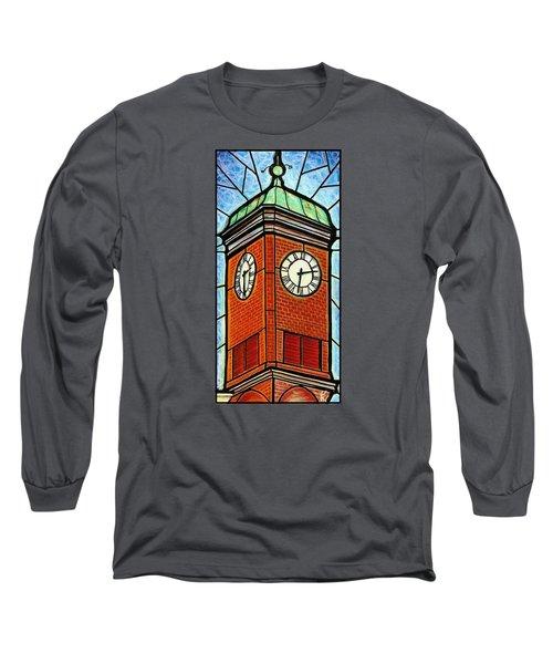 Long Sleeve T-Shirt featuring the painting Staunton Clock Tower Landmark by Jim Harris