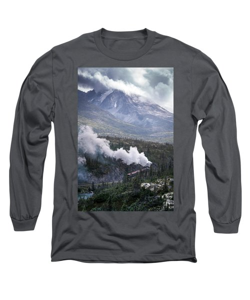 Steam Locomotive In White Pass Long Sleeve T-Shirt