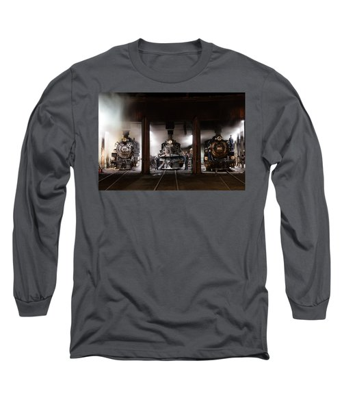 Long Sleeve T-Shirt featuring the photograph Steam Locomotives In The Roundhouse Of The Durango And Silverton Narrow Gauge Railroad In Durango by Carol M Highsmith