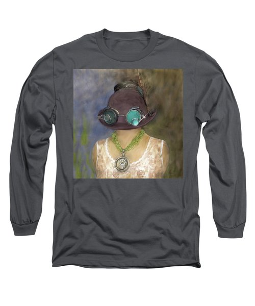 Steampunk Beauty With Hat And Goggles - Square Long Sleeve T-Shirt by Betty Denise