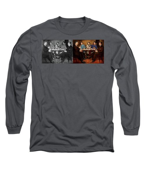 Long Sleeve T-Shirt featuring the photograph Steampunk - Bionic Three Having Tea 1917 - Side By Side by Mike Savad