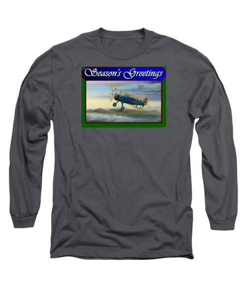 Stearman Christmas Card Long Sleeve T-Shirt by Stuart Swartz
