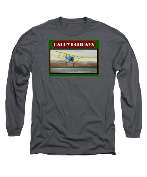 Stearman Morning Flight Christmas Card Long Sleeve T-Shirt by Stuart Swartz
