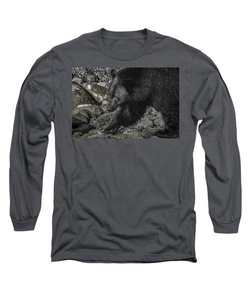 Stepping Into The Creek Black Bear Long Sleeve T-Shirt