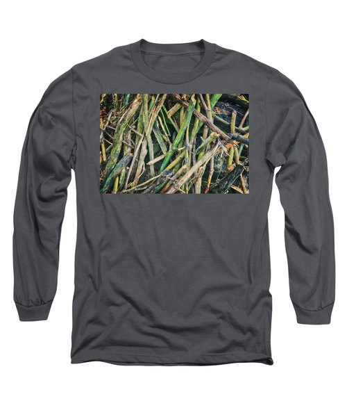 Stick Pile At Retzer Nature Center Long Sleeve T-Shirt by Jennifer Rondinelli Reilly - Fine Art Photography