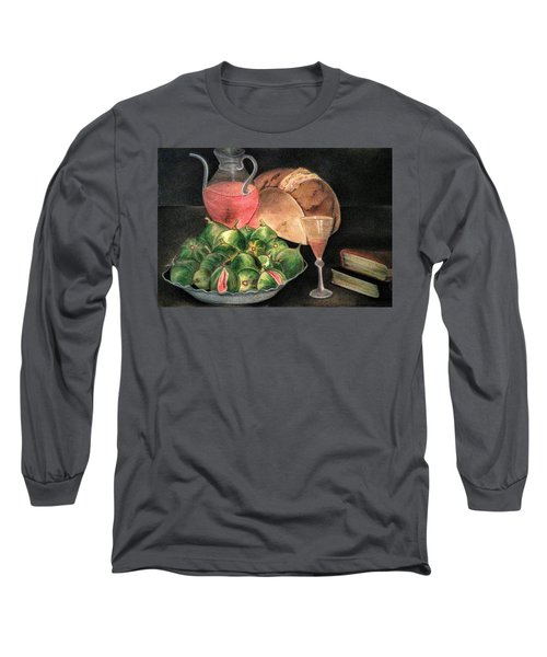 Still Life Of Figs, Wine, Bread And Books Long Sleeve T-Shirt