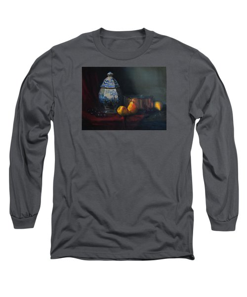 Still Life With Antique Dutch Vase Long Sleeve T-Shirt by Barry Williamson