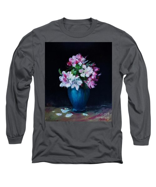 Still Life With Apple Tree Flowers In A Blue Vase Long Sleeve T-Shirt