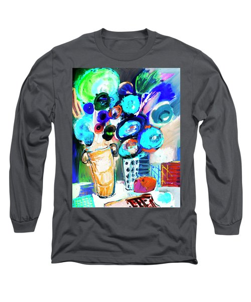 Still Life With Blue Flowers Long Sleeve T-Shirt by Amara Dacer
