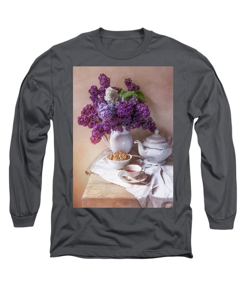 Long Sleeve T-Shirt featuring the photograph Still Life With Fresh Lilac And China Pots by Jaroslaw Blaminsky