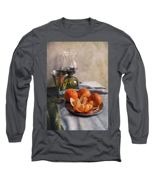 Long Sleeve T-Shirt featuring the photograph Still Life With Fresh Tangerines by Jaroslaw Blaminsky