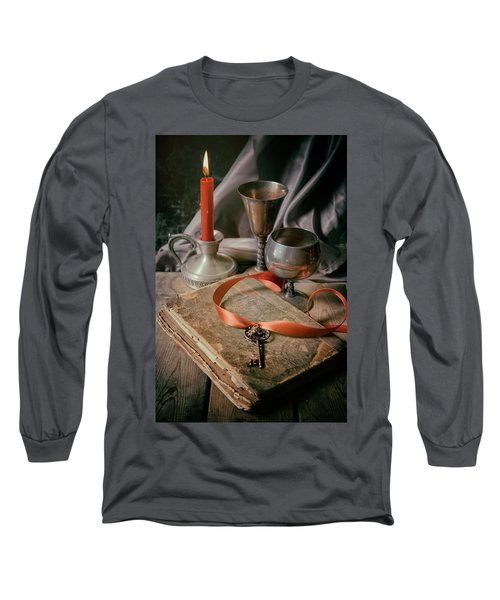 Long Sleeve T-Shirt featuring the photograph Still Life With Old Book And Metal Dishes by Jaroslaw Blaminsky