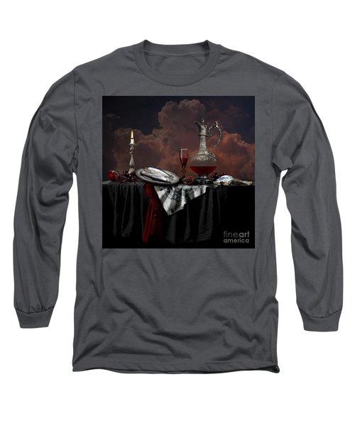 Long Sleeve T-Shirt featuring the digital art Still Life With Red Wine by Alexa Szlavics