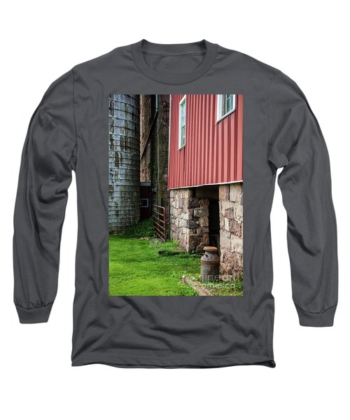 Stone Barn With Milk Can Long Sleeve T-Shirt