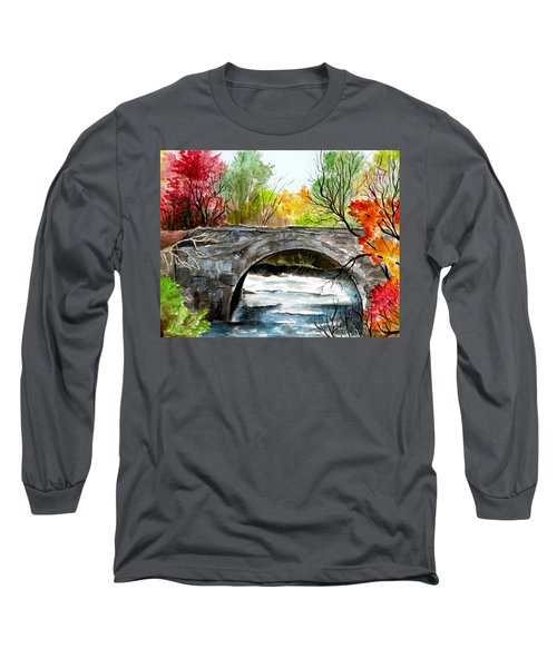Stone Bridge In Maine  Long Sleeve T-Shirt