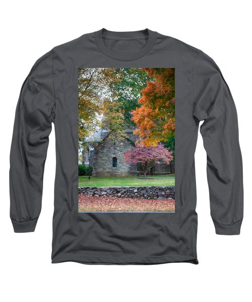 Stone Church In Pomfret Ct In Autumn Long Sleeve T-Shirt