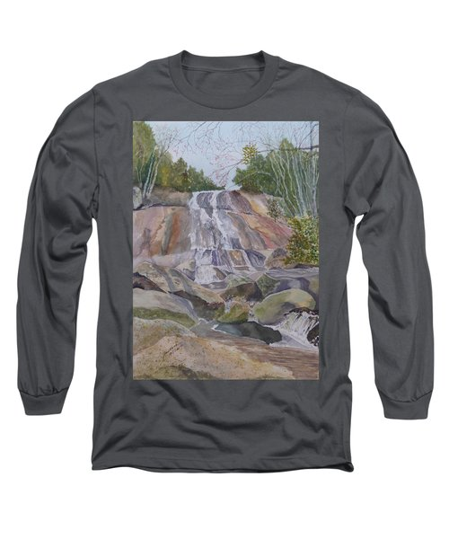Long Sleeve T-Shirt featuring the painting Stone Mountain Falls April 2013 by Joel Deutsch