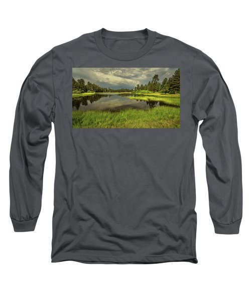 Storm Clouds Over Bluff Lake Long Sleeve T-Shirt