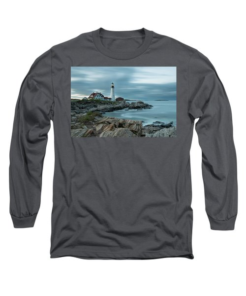 Storm Passing At Portland Head Light Long Sleeve T-Shirt