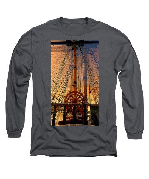 Storm Ship Of Old Long Sleeve T-Shirt by Lori Seaman