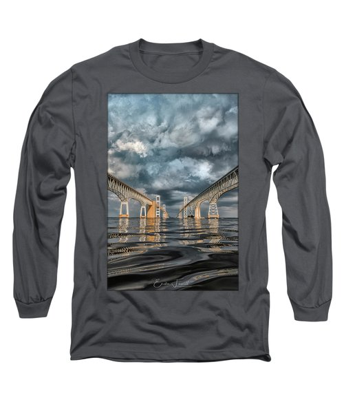 Stormy Chesapeake Bay Bridge Long Sleeve T-Shirt
