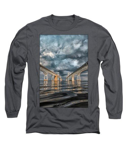 Stormy Chesapeake Bay Bridge Long Sleeve T-Shirt