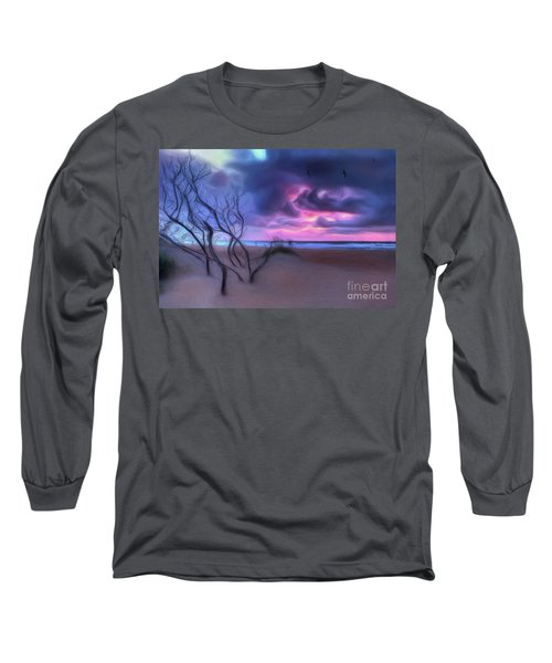 Stormy Outer Banks Sunrise And Bush Ap Long Sleeve T-Shirt by Dan Carmichael