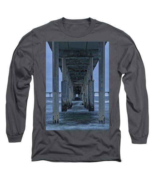 Stormy Pier In Ocean Beach Long Sleeve T-Shirt