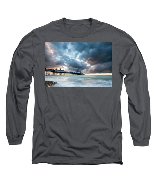 Stormy Sunrise Over Eastbourne Pier Long Sleeve T-Shirt