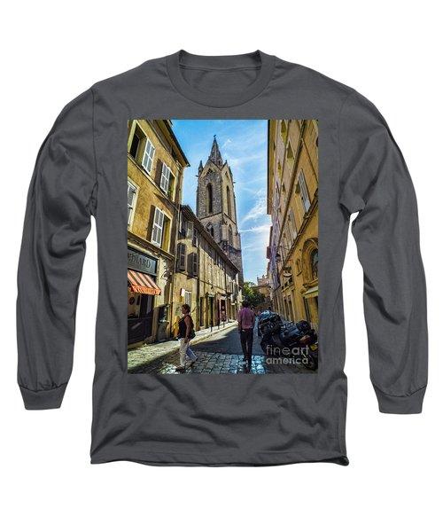 Street In Aix Long Sleeve T-Shirt by Karen Lewis