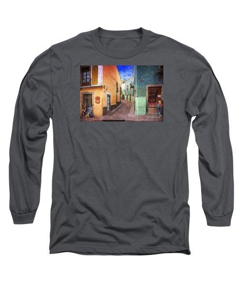 Street In Guanajuato Long Sleeve T-Shirt by John  Kolenberg