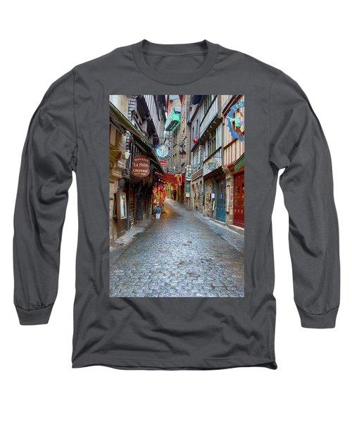 Street Le Mont Saint Michel Long Sleeve T-Shirt by Hugh Smith