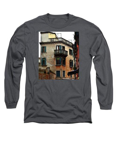 Long Sleeve T-Shirt featuring the photograph Street Scene Venician Shutters by Richard Ortolano