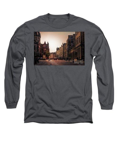Streets Of Edinburgh Scotland  Long Sleeve T-Shirt