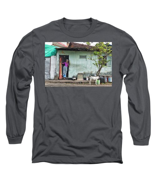 Streets Of Kochi Long Sleeve T-Shirt by Marion Galt