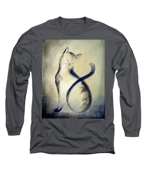 Stripey Cat 2 Long Sleeve T-Shirt by Dina Dargo