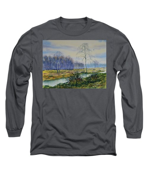 Stream In Flood On Strensall Common Long Sleeve T-Shirt