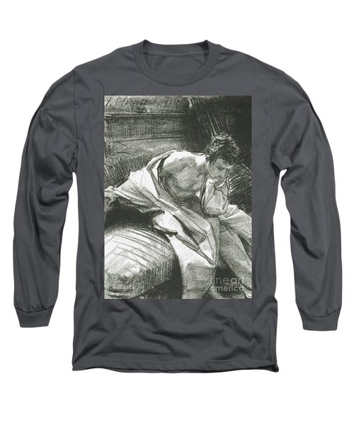 Study Of A Young Man Seated, 1895 Long Sleeve T-Shirt