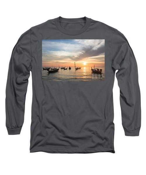 Stunning Sunset Over Wooden Boats In Koh Lanta In Thailand Long Sleeve T-Shirt
