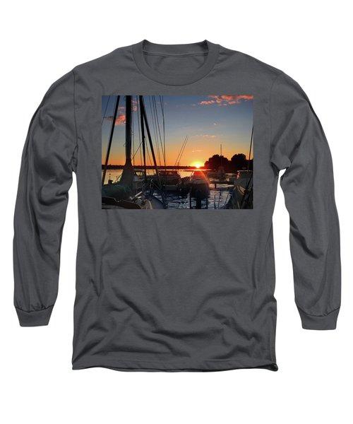 Sturgeon Bay Sunset Long Sleeve T-Shirt by Rod Seel